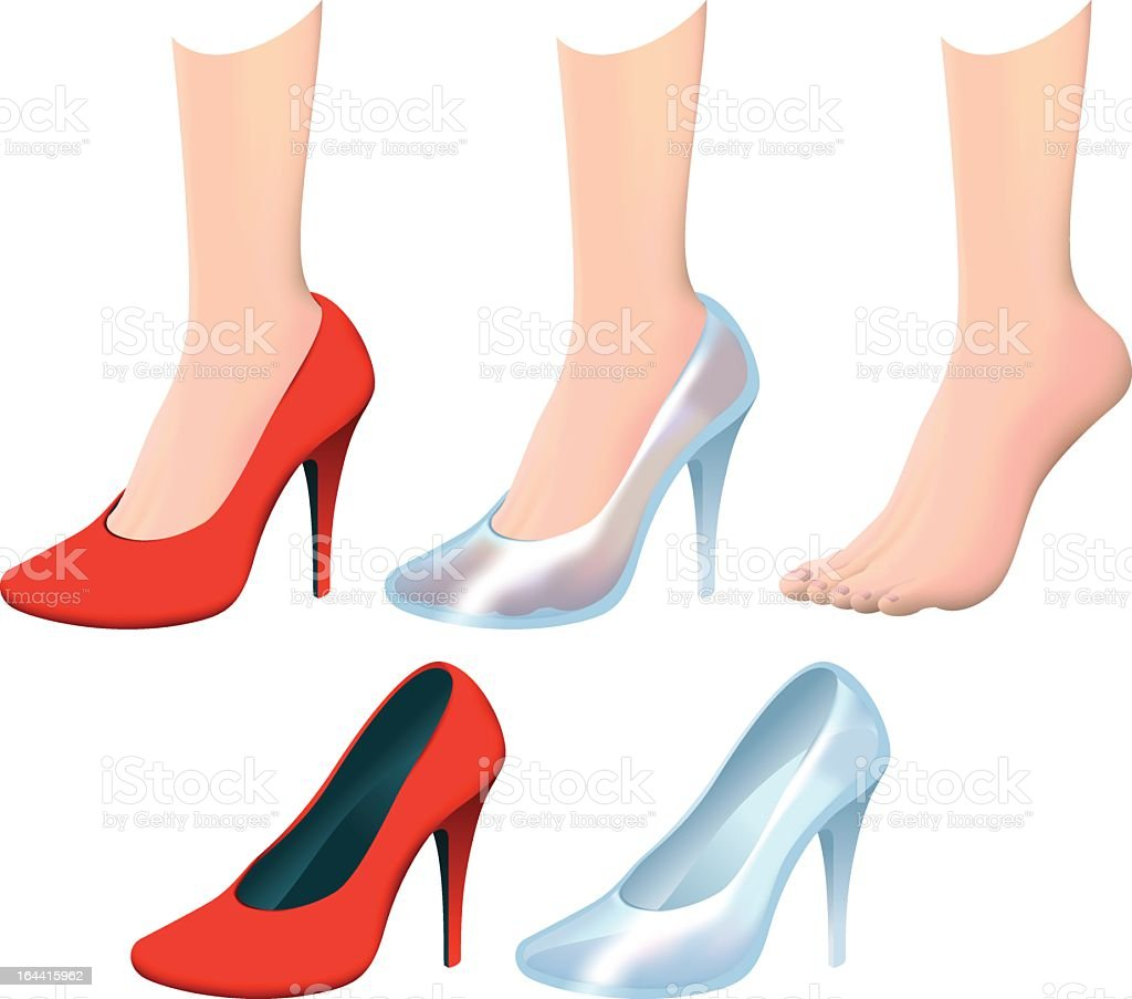 Glas Hausschuhe und High heels – Vektorgrafik