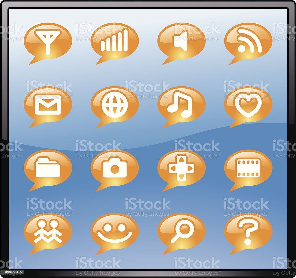 Glass Smartphone Icon Set Vector royalty-free stock vector art
