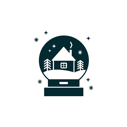 Glass snow ball with house and winter landscape. Snow globe black silhouette - Christmas decoration or gift. Waterglobe vector illustration in material design- transparent sphere, New Year giveaway or souvenir.