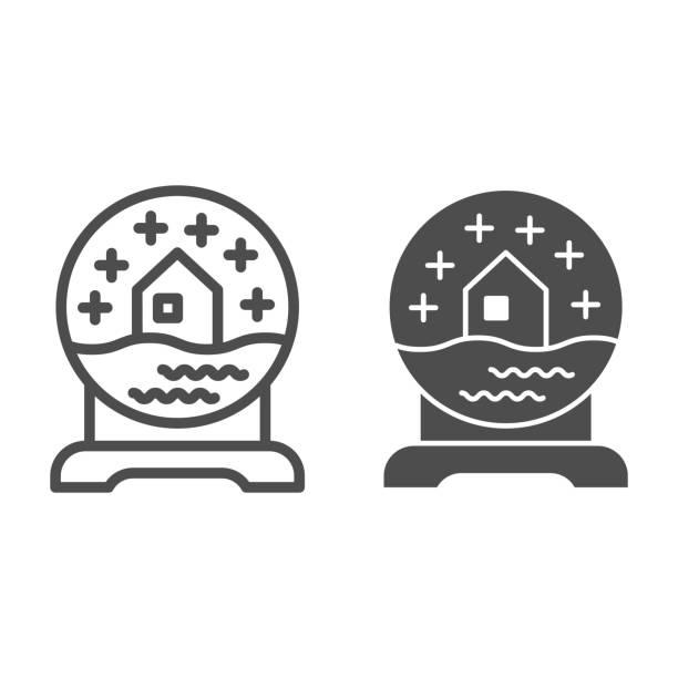 illustrazioni stock, clip art, cartoni animati e icone di tendenza di linea globo di neve di vetro e icona solida. palla con simbolo souvenir casa innevata, pittogramma in stile contorno su sfondo bianco. segno di articolo natalizio per il concetto mobile o il web design. grafica vettoriale. - souvenir