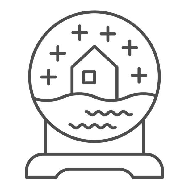 illustrazioni stock, clip art, cartoni animati e icone di tendenza di icona della linea sottile del globo di neve di vetro. palla con simbolo souvenir casa innevata, pittogramma in stile contorno su sfondo bianco. segno di articolo natalizio per il concetto mobile o il web design. grafica vettoriale. - souvenir