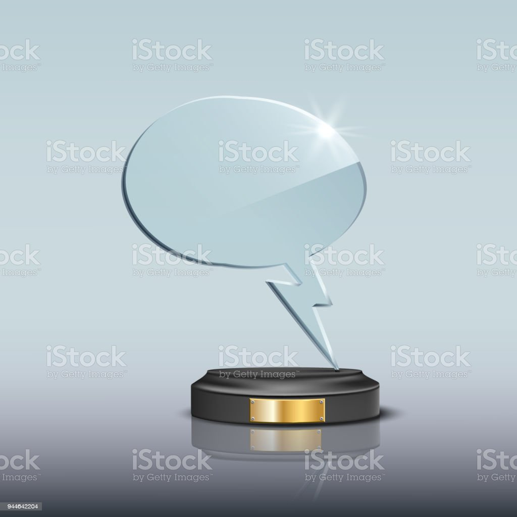 Glass Speech Bubble Award Template Vector Blank Glass Speech