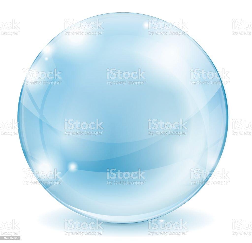 Esfera de cristal. Bola de cristal transparente azul. - ilustración de arte vectorial