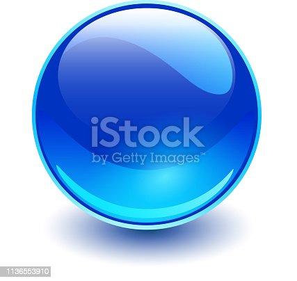 Glass sphere blue, vector shiny ball.