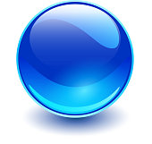 Glass sphere blue, vector shiny ball.