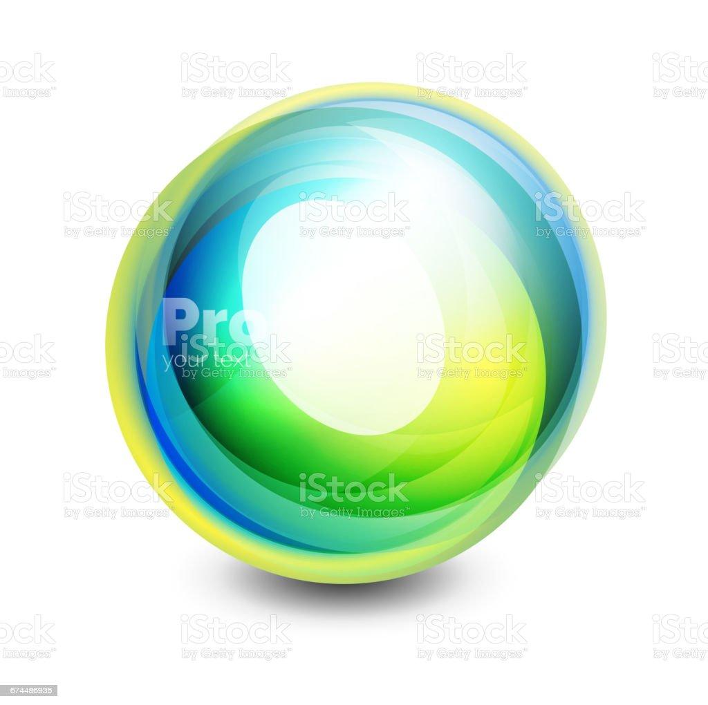 Esfera de cristal, elemento abstracto futurista - ilustración de arte vectorial