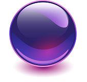 Glass sphere purple, vector shiny ball.