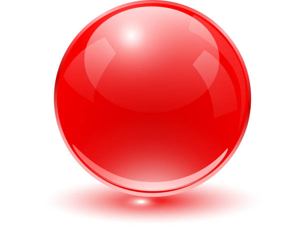 Glass sphere red vector art illustration