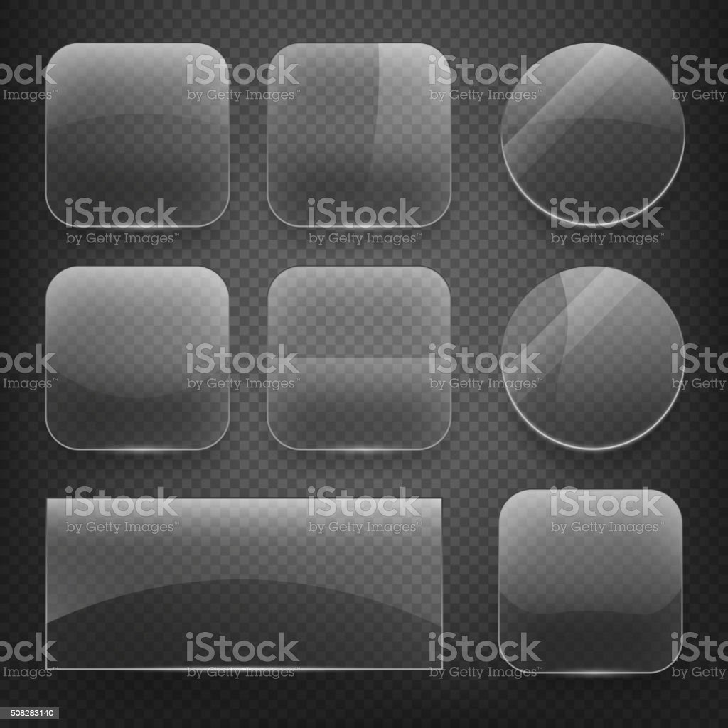 Glass square, rectangular and round buttons on checkered background. Vector vector art illustration