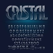 Glass srystal vector letters, symbols, numbers. Contains graphic style