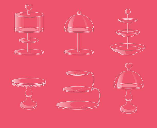 glass stands for cakes and desserts. - tortenständer stock-grafiken, -clipart, -cartoons und -symbole
