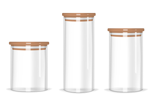 Glass storage jars different heights with airtight seal bamboo lids, vector mock-up set. Clear empty food canisters isolated on white background, realistic illustration