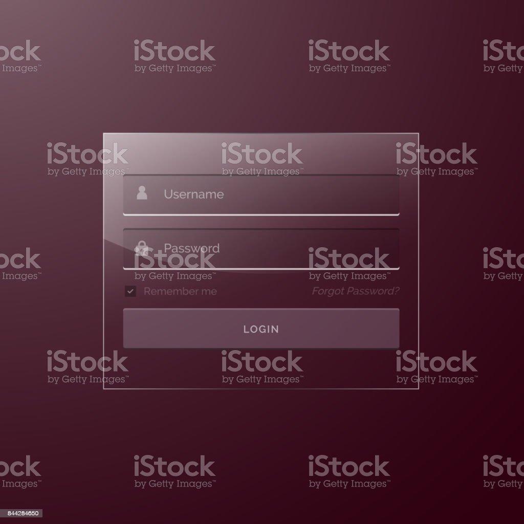Glass Style Modern Login Template Design Stock Vector Art More