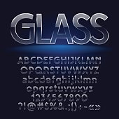 Glass stylish vector letters, symbols, numbers. Contains graphic style