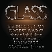 Glass thin vector letters, symbols, numbers. Contains graphic style