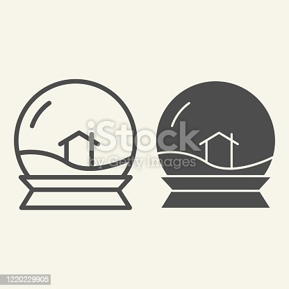 Glass toy ball line and solid icon. Snowglobe with house inside outline style pictogram on white background. Crystal snow souvenir and lodge sign for mobile concept and web design. Vector graphics