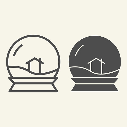 Glass toy ball line and solid icon. Snowglobe with house inside outline style pictogram on white background. Crystal snow souvenir and lodge sign for mobile concept and web design. Vector graphics.