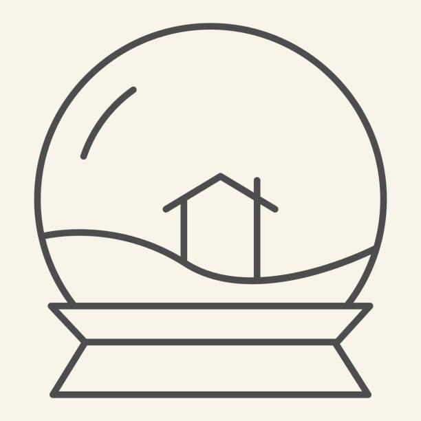 illustrazioni stock, clip art, cartoni animati e icone di tendenza di icona della linea sottile della palla giocattolo di vetro. snowglobe con casa all'interno schema pittogramma su sfondo bianco. cristallo neve souvenir e lodge segno per concetto mobile e web design. grafica vettoriale. - souvenir