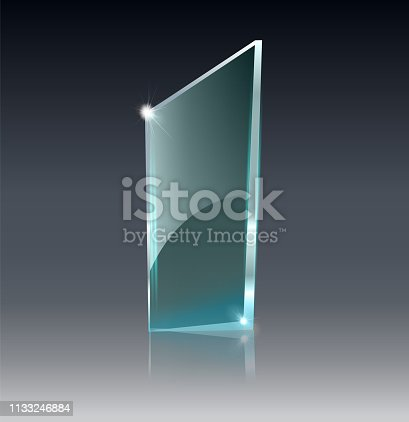153984410istockphoto Glass transparent banner. Vector glass plates with a place for inscriptions isolated on transparent background. Flat glass. Realistic 3D design. Vector transparent object . 1133246884
