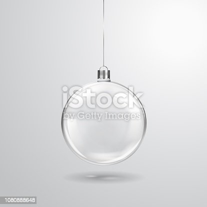 Glass transparent Christmas ball hanging on the ribbon. Realistic Xmas glass bauble on transparent background. Holiday decoration template. Vector illustration