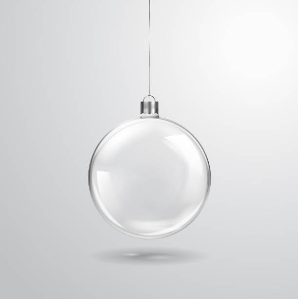 Glass transparent Christmas ball hanging on the ribbon. Realistic Xmas glass bauble on transparent background. Holiday decoration template. Vector illustration Glass transparent Christmas ball hanging on the ribbon. Realistic Xmas glass bauble on transparent background. Holiday decoration template. Vector illustration sphere stock illustrations
