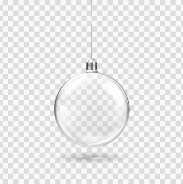 stockillustraties, clipart, cartoons en iconen met glas transparant kerst bal opknoping op het lint. realistische xmas glas bauble op transparante achtergrond. vakantie decoratie sjabloon. vectorillustratie - kerstbal