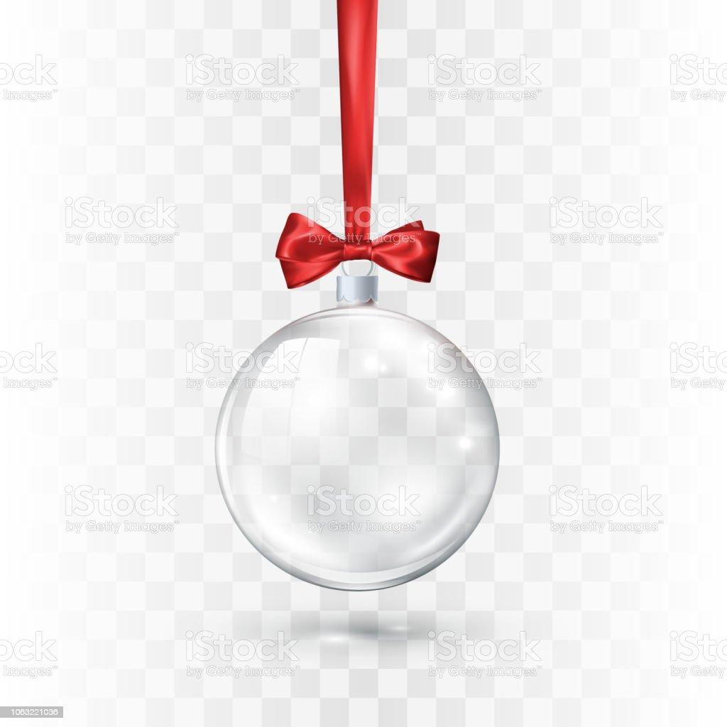 Boule De Noel Transparente A Decorer verre transparent boule de noël ornée de ruban et noeud