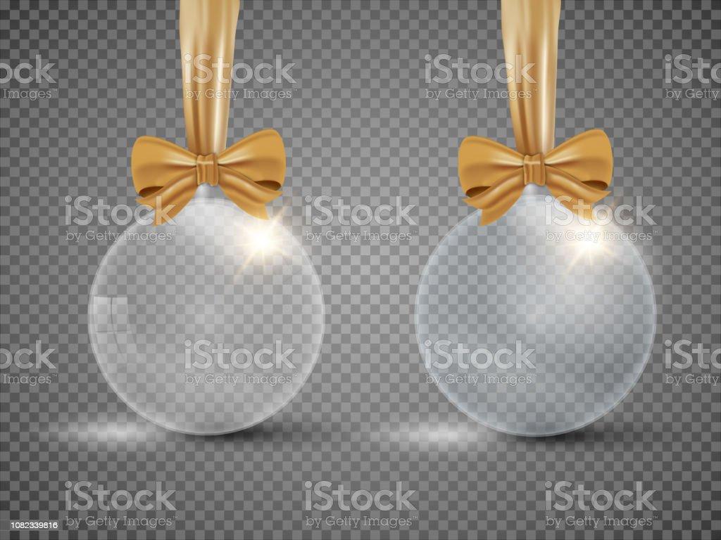 Personnaliser Une Boule De Noel Transparente boule de noël transparente de verre avec ruban isolé sur
