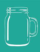 Glass transparent doodle mason jar with handle. Vector hand drawn illustration.