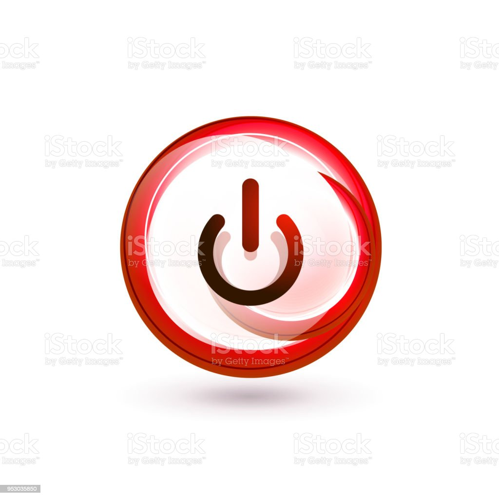 Glass Transparent Effect Power Start Button On Off Icon Vector Ui Or
