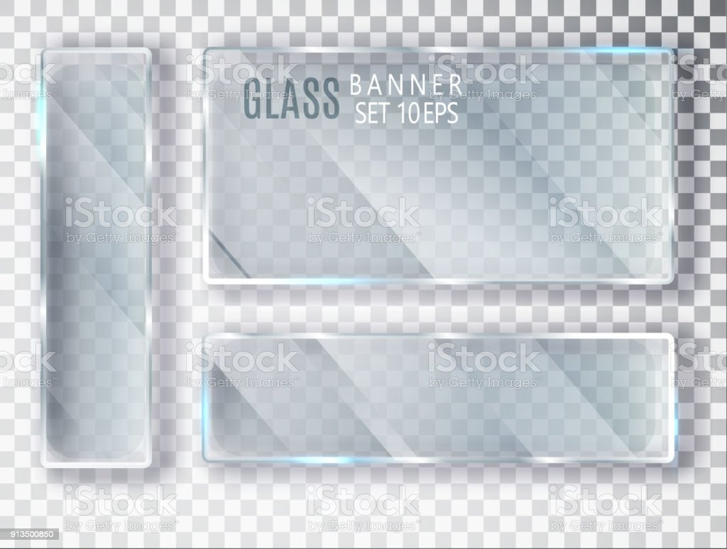 Glass transparent plates set. Vector glass modern banners isolated on transparent background. Flat glass. Realistic 3D design. Vector transparent object 10 eps. glass transparent plates set vector glass modern banners isolated on transparent background flat glass realistic 3d design vector transparent object 10 eps - immagini vettoriali stock e altre immagini di applicazione mobile royalty-free