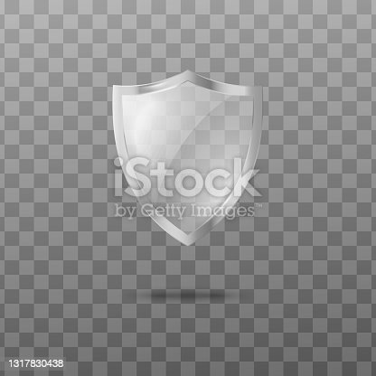 istock Glass transparent security guard shield with silver frame a vector illustration. 1317830438
