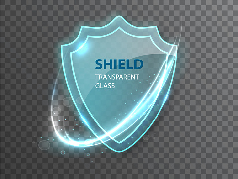 Glass transparent shield. Protective glass shield with reflection and glow on transparent background. Realistic 3d.
