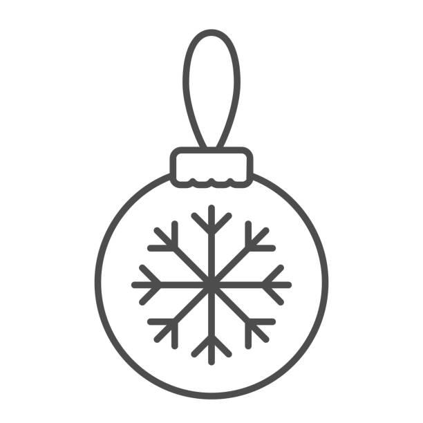 Glass tree toy with snowflake line and solid icon. Christmas ball with snowflake outline style pictogram on white background. Decoration for firtree for mobile concept and web design. Vector graphics. Glass tree toy with snowflake line and solid icon. Christmas ball with snowflake outline style pictogram on white background. Decoration for firtree for mobile concept and web design. Vector graphics winter weather clip art stock illustrations