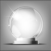 Glass trophy award. Vector award on gray background Glass transparent crystal globe. Magic attribute. Empty sphere. Stand for a souvenir, trophy. Realistic vector object isolated on plaid background .