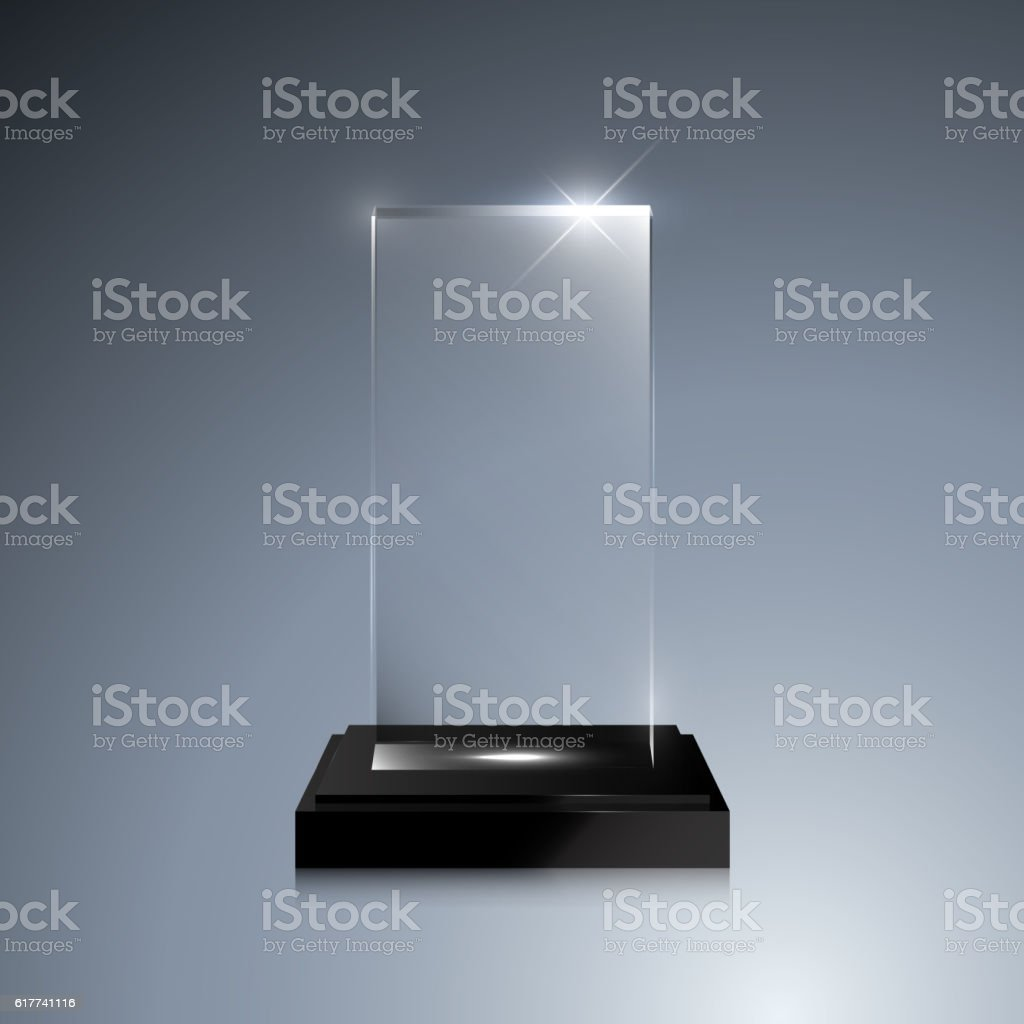 Glass Trophy Award Vector Crystal 3d Mockup Stock