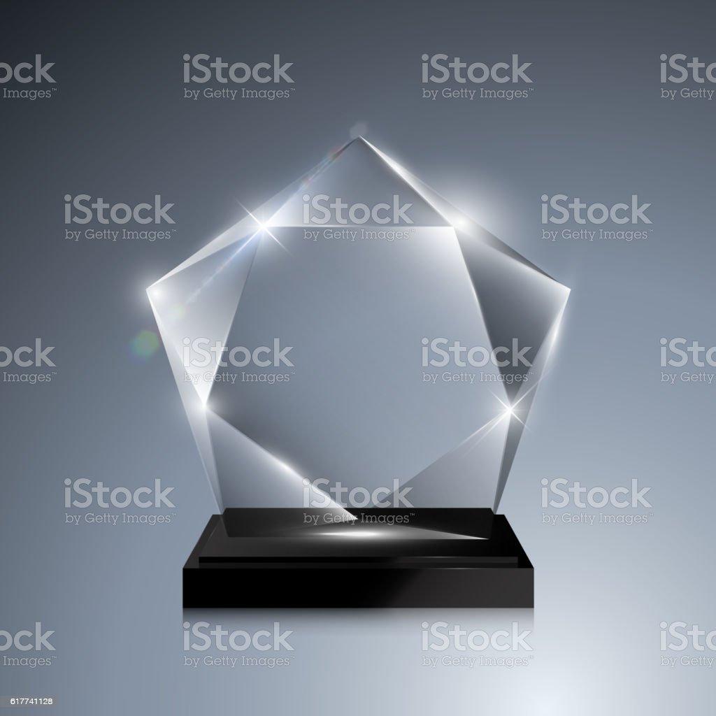 Glass Trophy Award Vector Crystal 3D Mockup Royalty Free