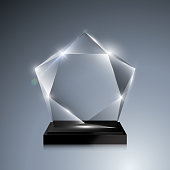 Glass trophy award. Vector crystal 3D mockup