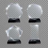 Glass trophy award. Vector crystal 3D transparent