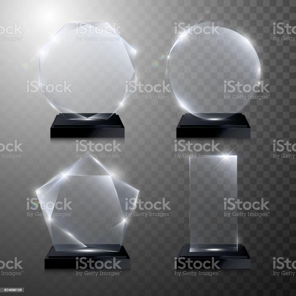 Glass trophy award. Vector crystal 3D transparent vector art illustration