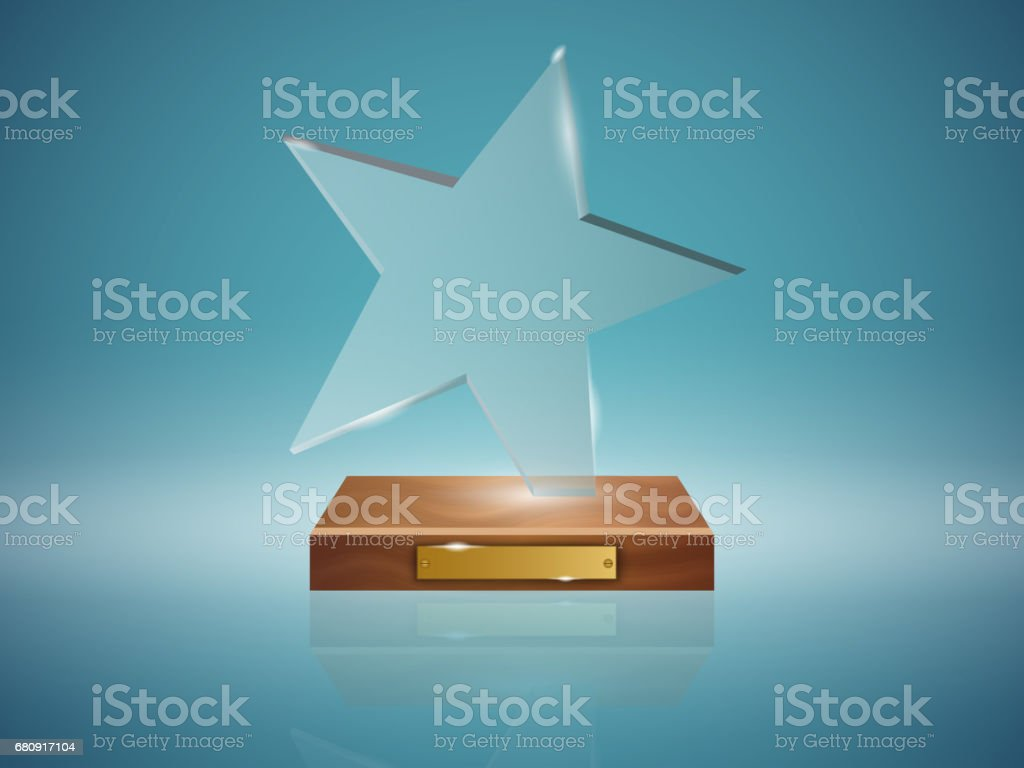 Glass Trophy Award. royalty-free glass trophy award stock vector art & more images of achievement