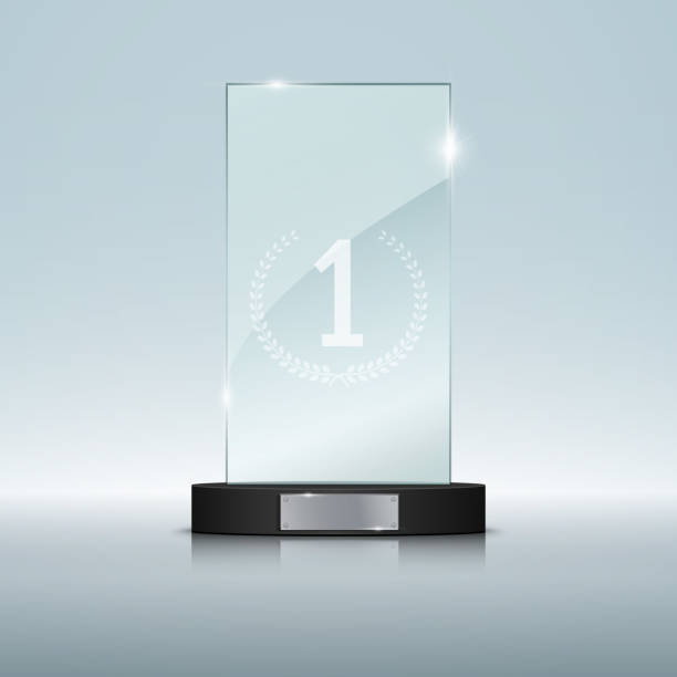 glass trophy award. vector illustration - glasteller stock-grafiken, -clipart, -cartoons und -symbole