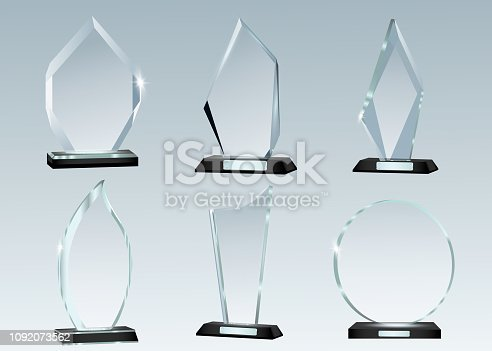istock Glass Trophy Awards template. Vector prize isolated on transparent background 1092073562