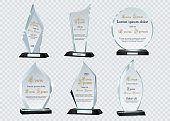 Glass Trophy Awards template. Vector prize isolated on transparent background