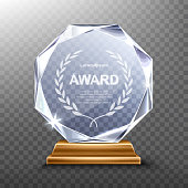 Glass award trophy or winner prize realistic vector illustration. Transparent crystal plate or acrylic diamond frame with laurel wreath on wooden pedestal, isolared front view with light and shadow