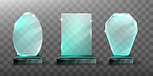 Glass trophy or winner award realistic vector illustration. Transparent crystal plate or blue acrylic frames different shapes on black chrome metal pedestal, isolared front view with light and shadow