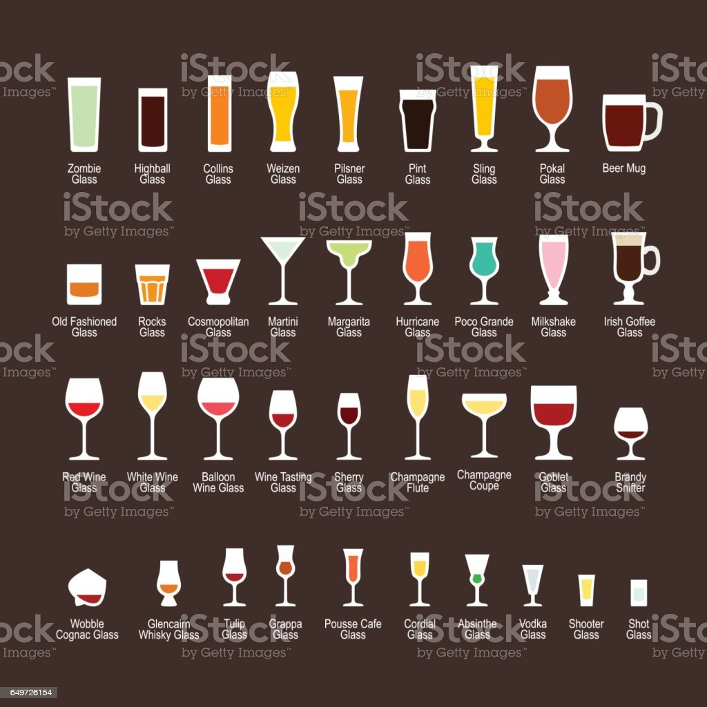 Glass types with titles, flat icons set vector art illustration