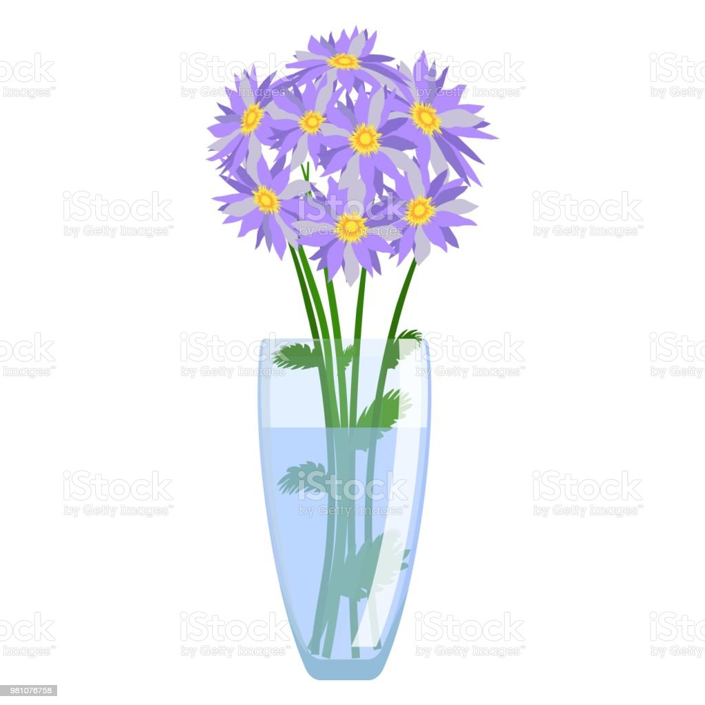 Glass Vase With Flowers Vector Isolated On White Background Modern