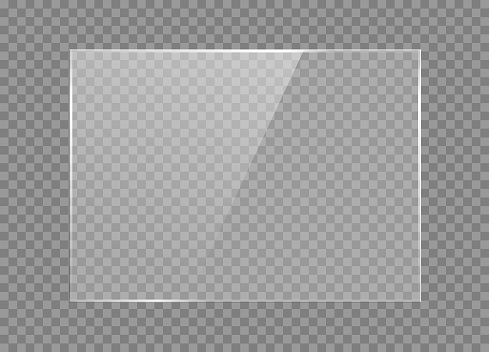 Glass plate on transparent background. Realistic window mockup with effect of light reflection.