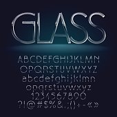 Glass vector set of thin alphabet letters, symbols, numbers. Contains graphic style